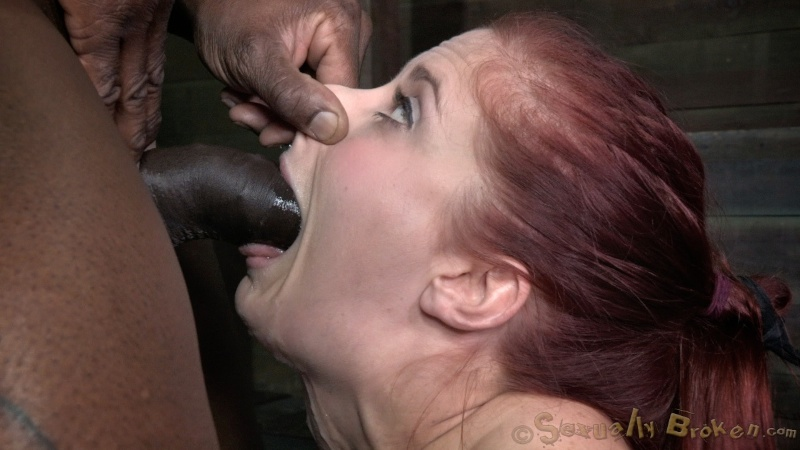 Big black fucker nicely face-fucked a slutty white bitch